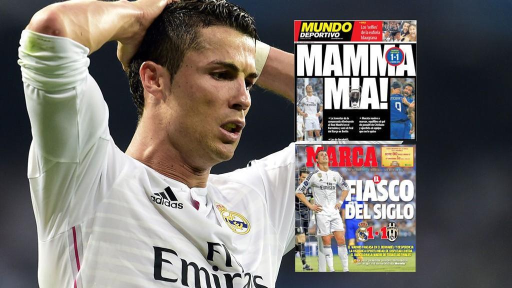 FÅR HARD MEDFART: Ronaldo og Real Madrid-spillerne bør styre unna avisene etter semifinaletapet mot Juventus.