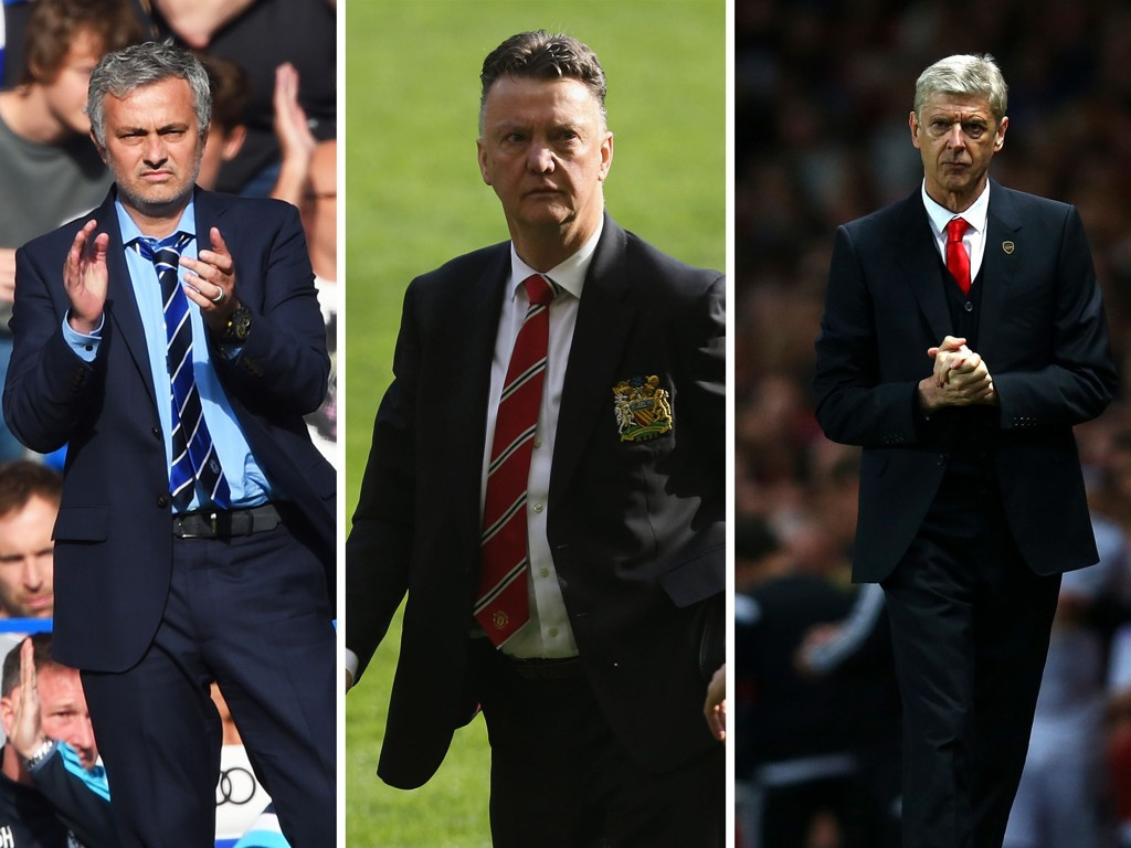 CHELSEA IKKE BEST? Manchester United-manager Louis van Gaal (midten) mener Chelsea-kollega José Mourinho (vesntre) har fått mye ut av laget sitt denne sesongen. Arsène Wenger (til høyre) råder ifølge nederlenderen over et bedre mannskap.