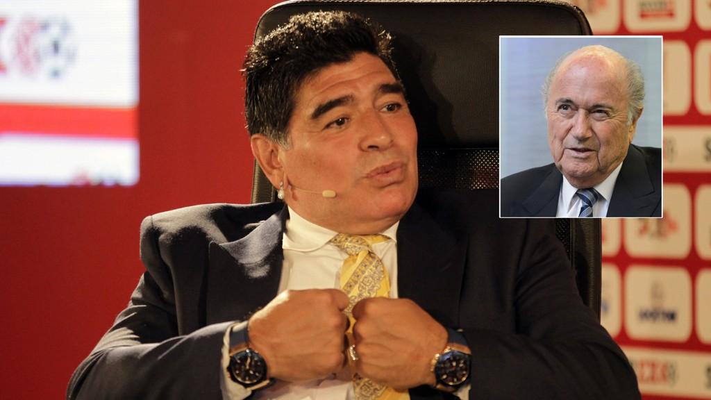 LANGER UT: Diego Maradona mener Fifa er en lekegrind for korrupsjon med Sepp Blatter som øverste leder.