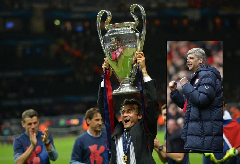 NÅR DET REGNER PÅ PRESTEN...: Arsenal-manager Arsene Wenger (innfelt) kan juble over Barcelonas Champions League-suksess.