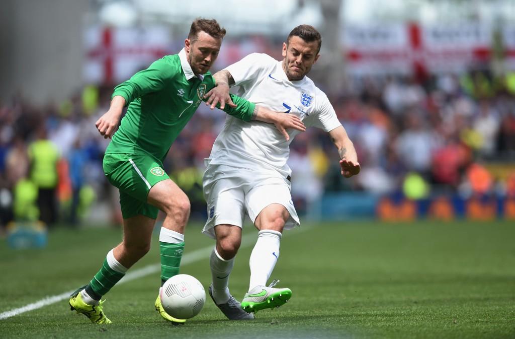 MÅLLØST: Hverken Jack Wilshere, Aiden McGeady eller noen av de andre aktørene på Aviva Stadium maktet å få ballen i mål i treningskampen mellom England og Irland.