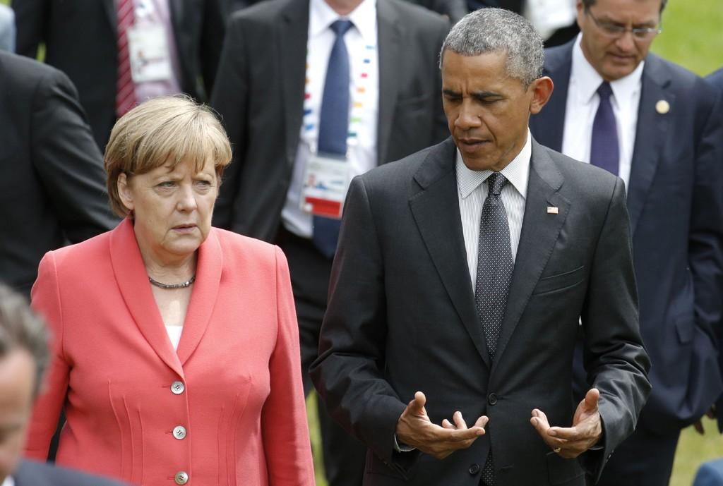Tysklands statsminister Angela Merkel og USAs president Barack Obama under G7-møtet i Tyskland.