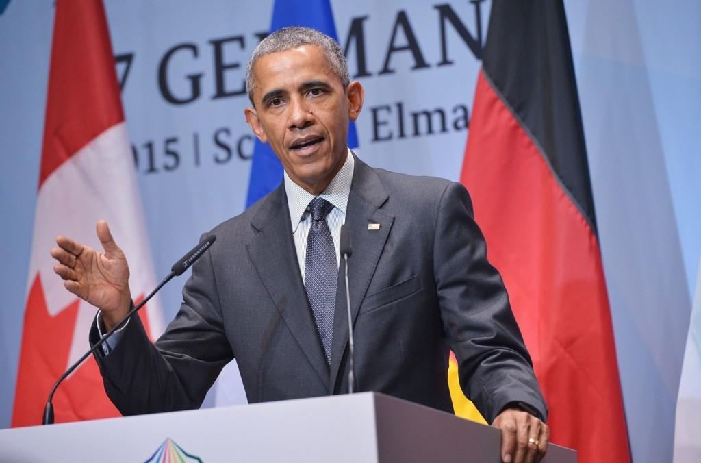 Obama går hardt ut mot hackere under pressekonferansen etter G7-møtet i Tyskland mandag.