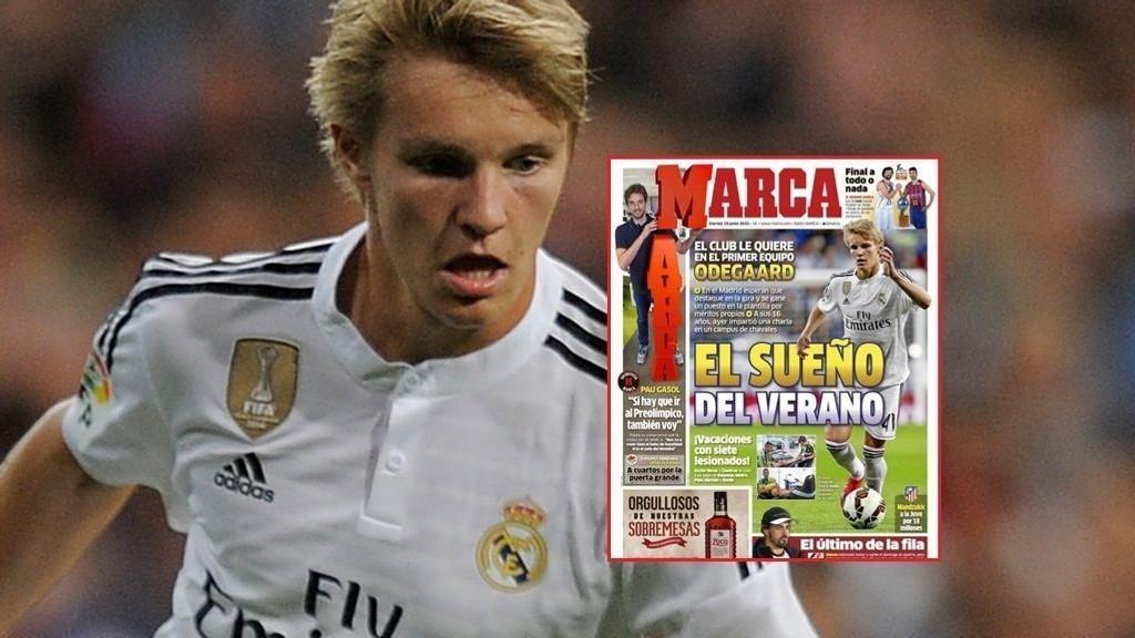 MED A-LAGET? Marca slår stort opp på fredagens forside at Real Madrid ønsker Martin Ødegaard som en fast del av A-laget neste sesong.