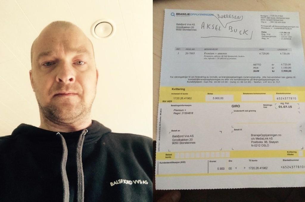 - JUKS: Daglig leder i Balsfjord VVS, Trond Viggo Eliassen, advarer mot selskapet Bransjeopplysningen, som nylig sendte bedriften hans et faktura-lignende dokument. Balsfjord VVS har ikke bestilt tjenester fra Bransjeopplysningen, og skyller ikke selskapet penger. Det fremkommer ikke i brevet.