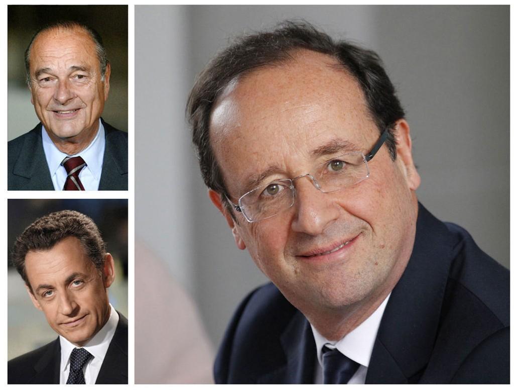 OVERVÅKET: Jacques Chirac (øverst t.v.), Nicolas Sarkozy (t.v.) og François Hollande.