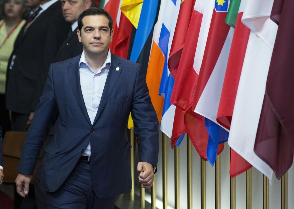 Hellas' statsminister Alexis Tsipras etter fredagens møte om Hellas' situasjon.