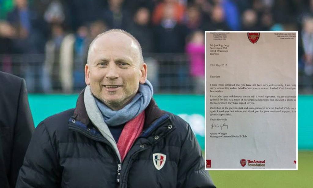 HILSEN FRA ARSENAL-SJEFEN: Jon Røgeberg er livslang arsenalsupporter, og fikk en oppmuntring da et brev fra Arsenal-manager Arsène Wenger dukket opp i posten.