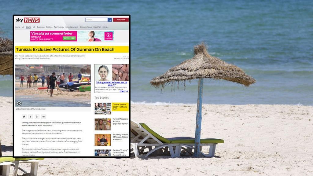 PÅ STRANDA: Sky News har fått tak i bilder av gjerningsmannen på stranda der han tok livet av 38 turister.