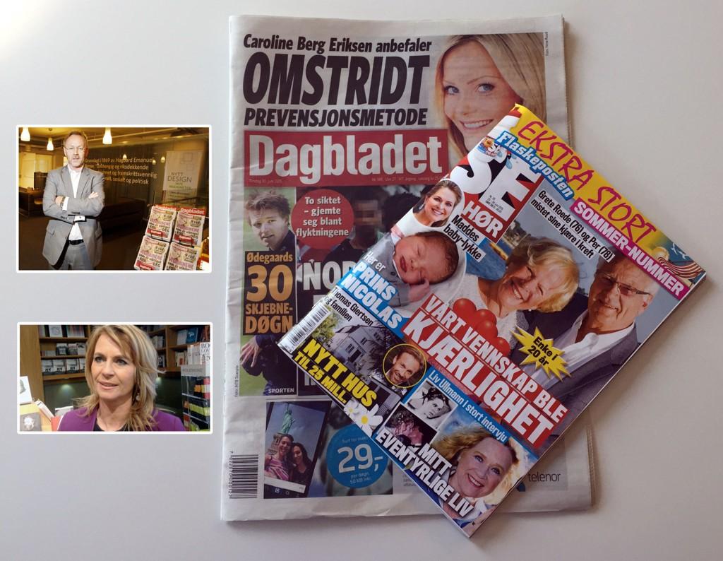 MINDRE POP: Stadig færre nordmenn plukker med seg Dagbladet og Se og Hør når de handler. Det får John Arne Markussen og Ellen Arnstad merke.