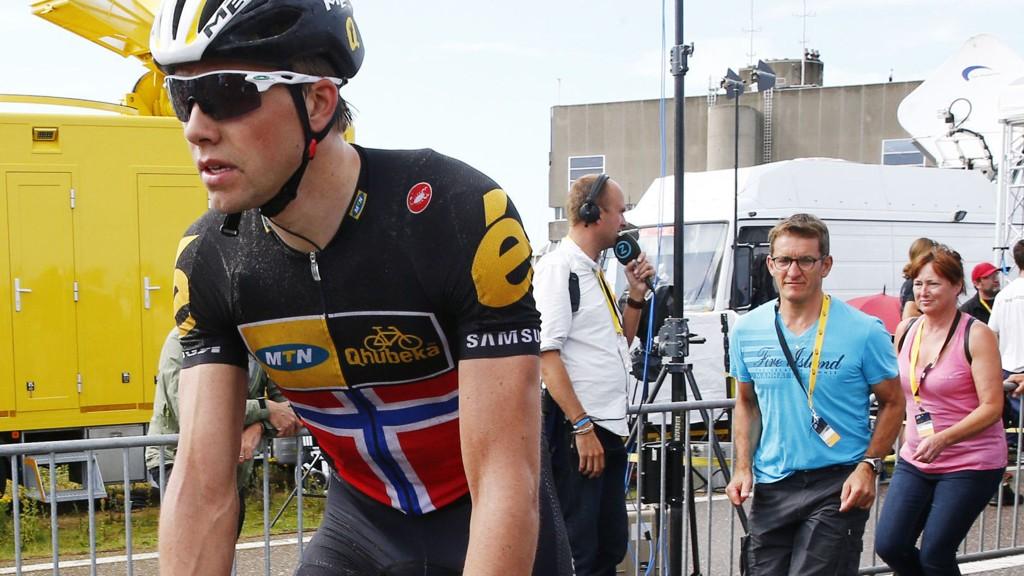 KJEDET HOPPET AV: Sykkelproblemer ødela vinnersjansene for Edvald Boasson Hagen.