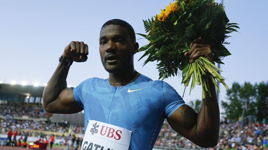 Justin Gatlin etter seieren på 100 meter i Lausanne 9. juli.