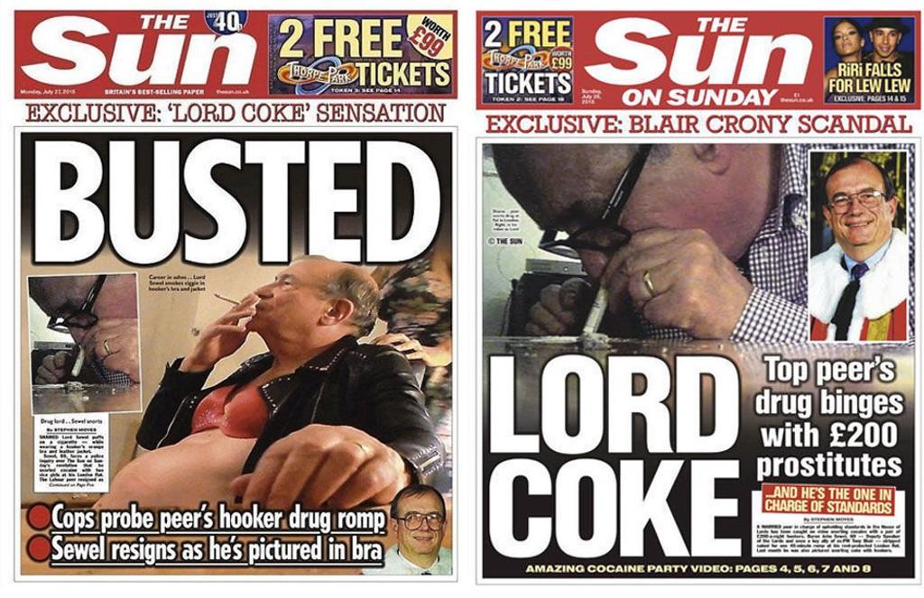 Labour-politikeren John Sewel prydet The Suns forside søndag og mandag.