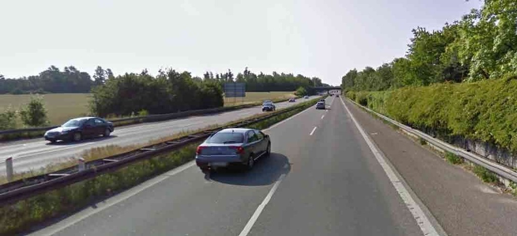 TOK 1635 BILISTER PÅ FEM TIMER: Her på Helsingørmotorveien mellom Sandbjerg og Vedbæk på Nordsjælland var fartsgrensen satt ned fra 110 km/h til 50 km/h på grunn av veiarbeid. Samtidig satte politiet opp radarkontroll på strekningen.