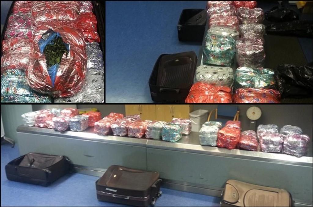 BESLAGET: Her er beslaget av all narkotikaen som mannen hadde med til Oslo lufthavn.Tre fulle kofferter hadde nederlenderen med seg. De inneholdt tilsammen 56,4 kilo.