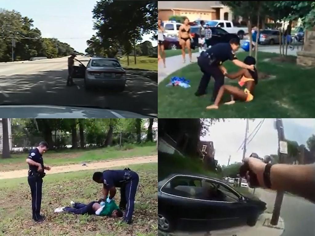 Bildene er hentet fra flere videoer som viser politivold mot svarte mennesker i USA. (Skjermdump (YouTube).