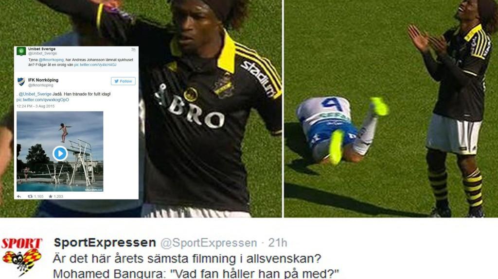 LATTERLIG DÅRLIG: IFK Norrkökpings Andreas Johansson touchet selv bort i AIKs Mohamed Banguras albue før han kastet seg i bakken med et hpåløst forsøk på filming. FOTO: montasje, Twitter @SportExpressen / Twitter @ifknorrkoping