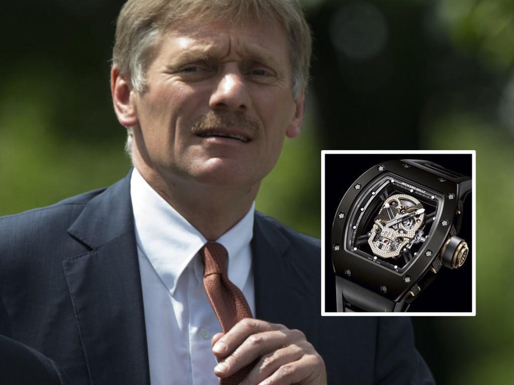 I SØKELYSET: Peskov, som hevder å tjene rundt 1,1 millioner norske kroner årlig, sier klokken er en gave fra hans kone.