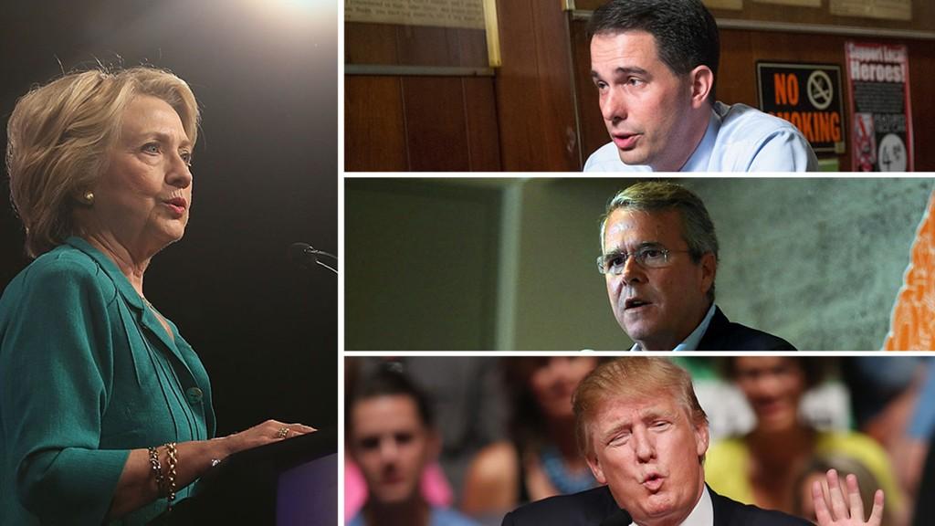 FAVORITTENE: Hillary Clinton (til venstre) ligger særdeles godt an til å bli demokratenes presidentkandidat, mens det på republikansk side er langt mer uvisst. Scott Walker (øverst), Jeb Bush (i midten) og Donald Trump (nederst) er blant de 17 kandidatene der.