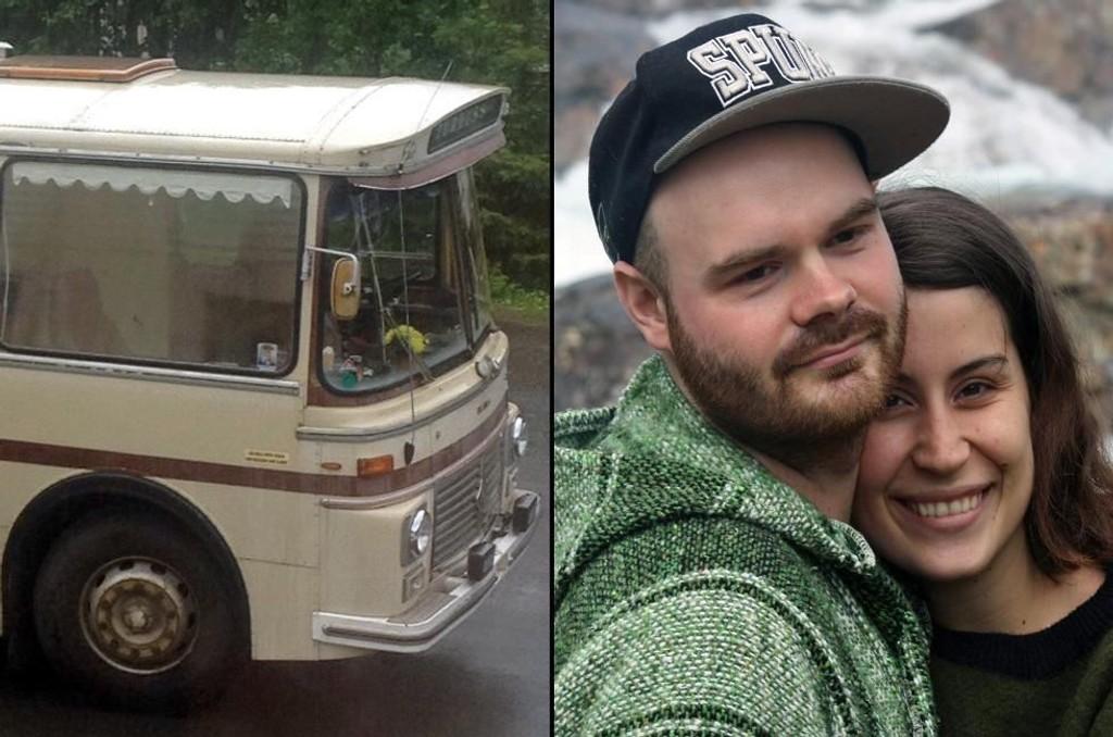 NYTT HJEM: Både Elina Mostafavi (23) og Kristoffer Reiersen (26) er fra Nordreisa, men har de siste årene bodd i Tromsø. Nå skal de flytte inn i en fammel rutebuss.
