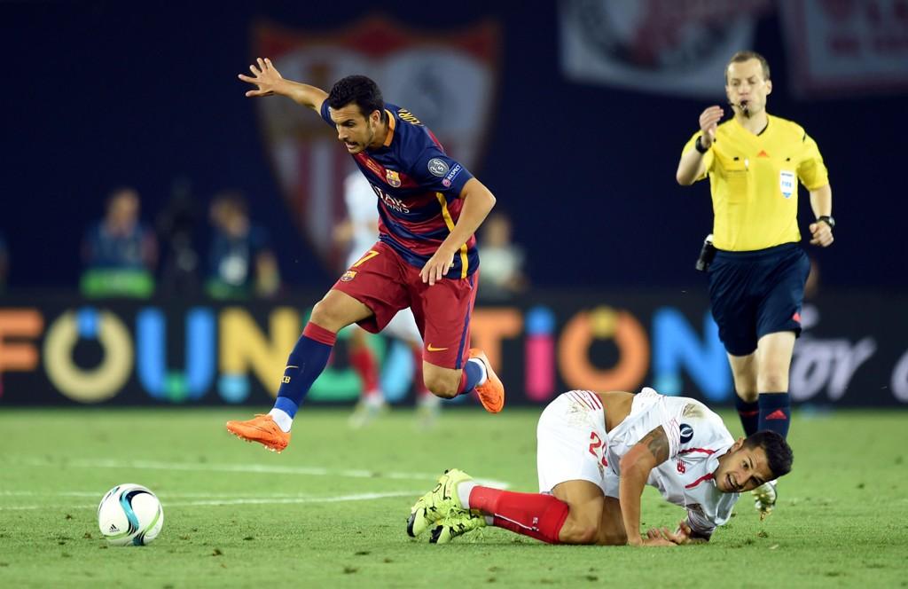 MATCHVINNER: Pedro avgjorde Supercup-finalen mot Sevilla fem minutter før straffesparkkonkurransen var et faktum.