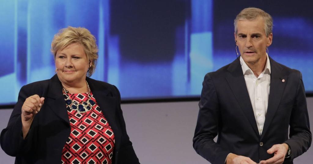 Arendal 20140814. Arendalsuka 2014. Statsminister Erna Solberg (H) flankert av partilederne Jonas Gahr Støre (AP) .