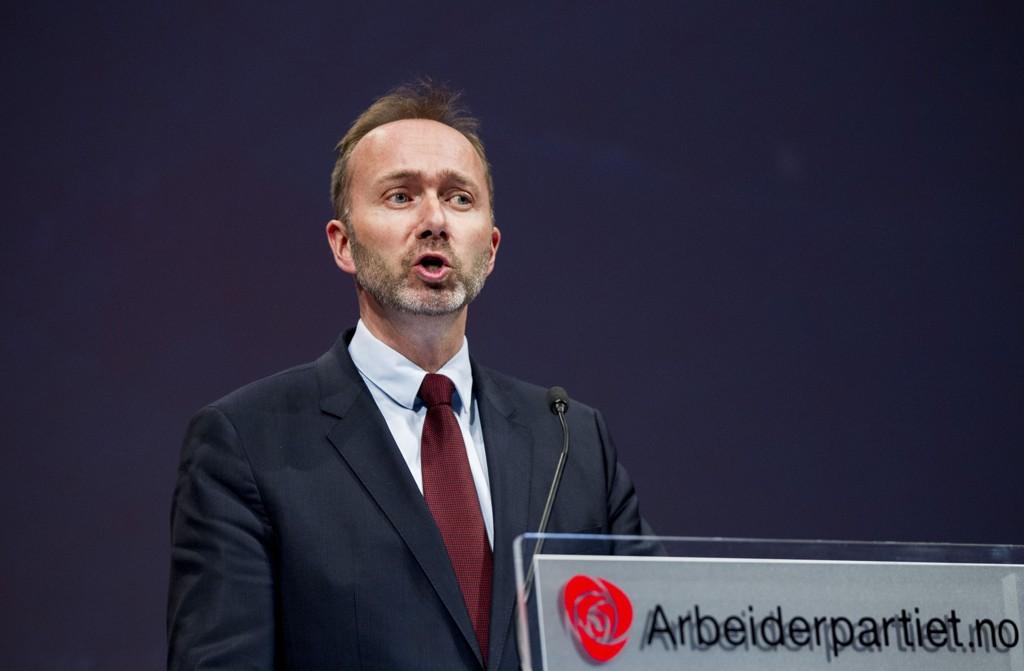 Trond Giske taler under Arbeiderpartiets landsmøte i Oslo april 2015.