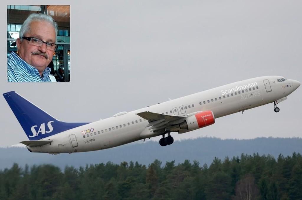 MÅTTE SNU: Arnfinn Røst (55) skulle til Tromsø fredag kveld, men sitter foreløpig på Oslo lufthavn etter at SAS-flyet måtte snu som følge av et vrient nesehjul.