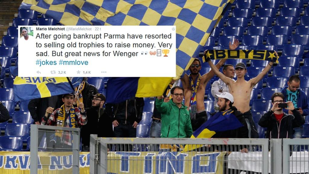 FYRER OPP: Mario Melchiot hintet på Twitter at Arsenal kan kjøpe trofeene Parma nå må selge. FOTO: montasje NTB scanpix / skjermdump Twitter @MarioMelchiot