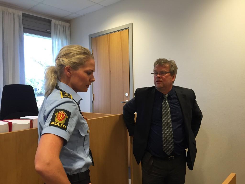 Politiadvokat Camilla Ek Sørensen og forsvarer for piloten og styrmannen i Air Baltic, Jørund Løgland.