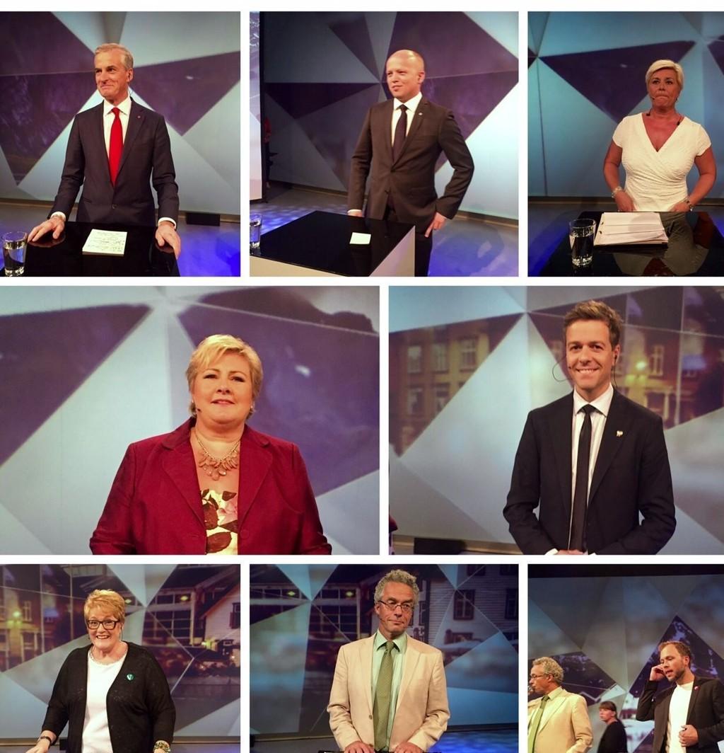 Partilederne i debatt på NRK1 mandag kveld. Foto: Heidi Schei Lilleås
