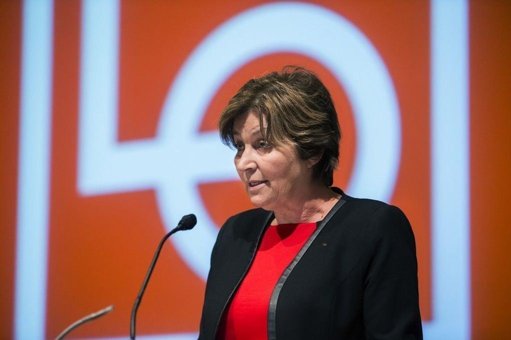 OSLO 20150217. Lo leder Gerd Kristiansen under LOs representantskapmøte i Folkets Hus.