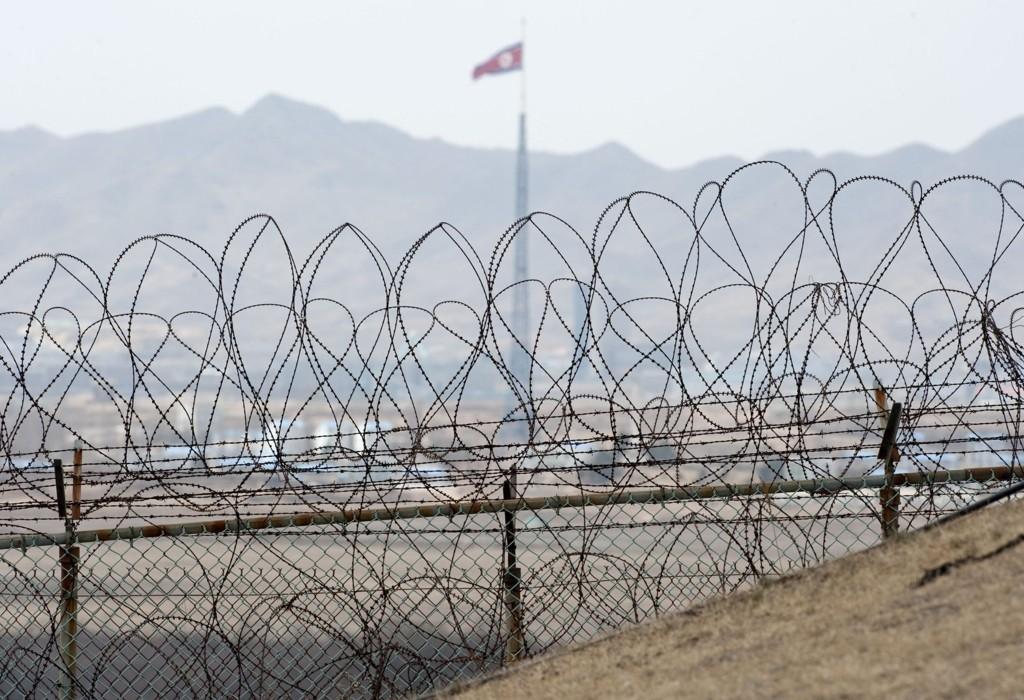 Her i den demilitariserte sonen på grensen mellom Nord-Korea og Sør-Korea har det i dag blitt skutt fra begge kanter.