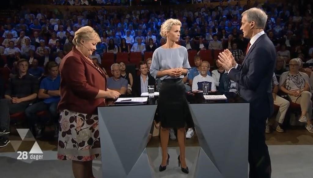 DUELL: Ingunn Solheim ledet duellen mellom statsminister Erna Solberg (H) og Ap-leder Jonas Gahr Støre under Arendalsuka.