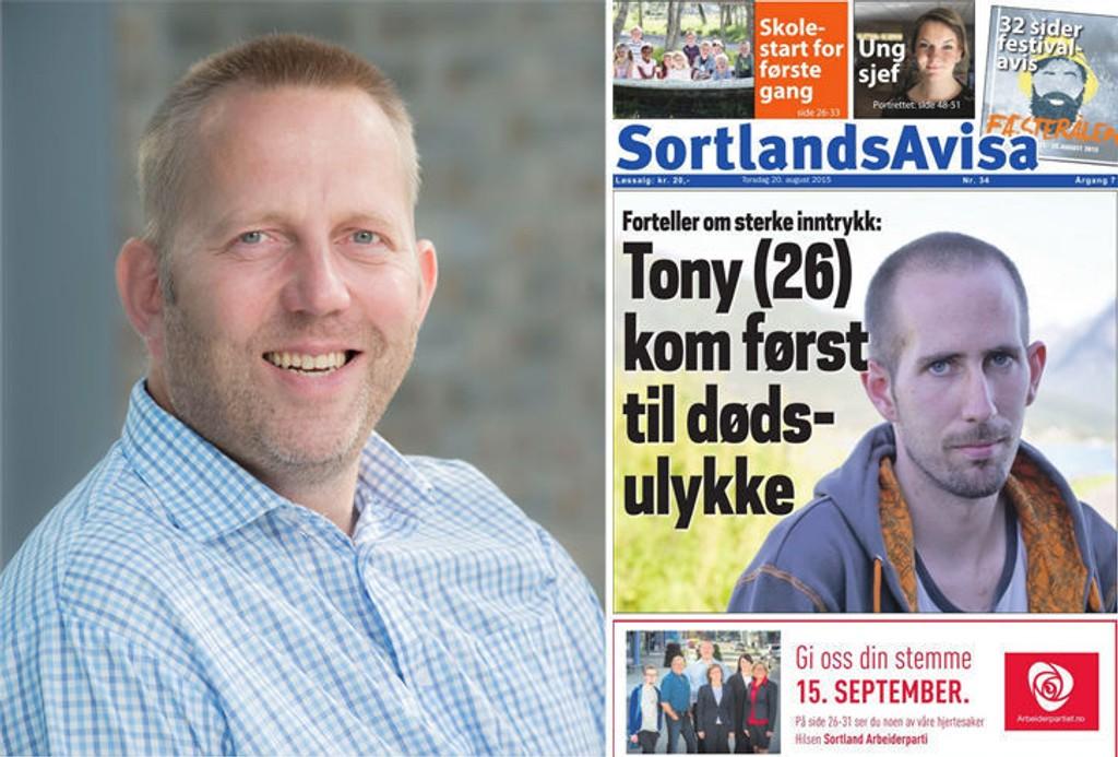 AU DA! Sigurd Jacobsen, leder i Sortland Arbeiderparti, fikk seg en latter da han så at partiets valgannonse hadde feil dato.