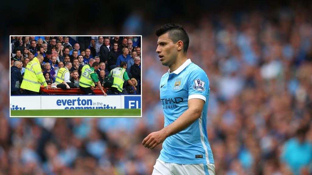 HJALP TIL: Sergio Agüero stoppet kampen for å sørge for medisinsk hjelp til Everton-supporter.