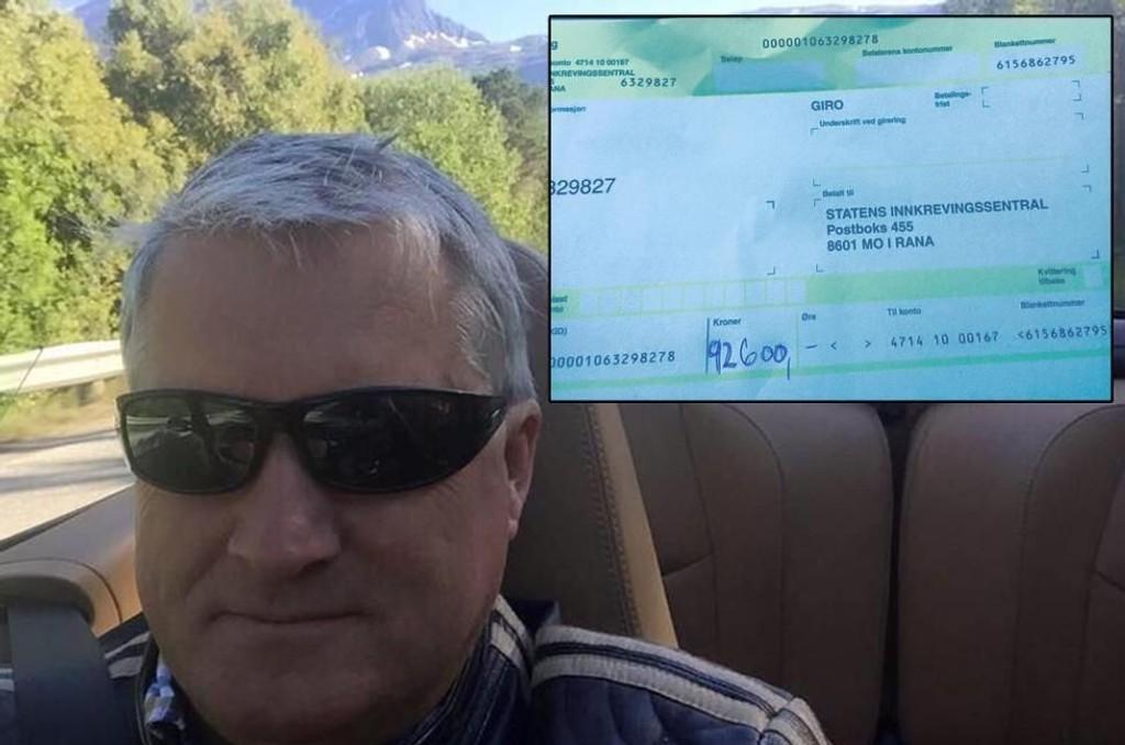 MODIFISERT BOT: Da Ola Giæver tok Porschen sin ut på tur endte det med fartsbot. Nå har han lagt på et nitall foran botsummen. Han hevder han har tenkt å betale 92.600 kroner for å se hva som skjer med pengene.