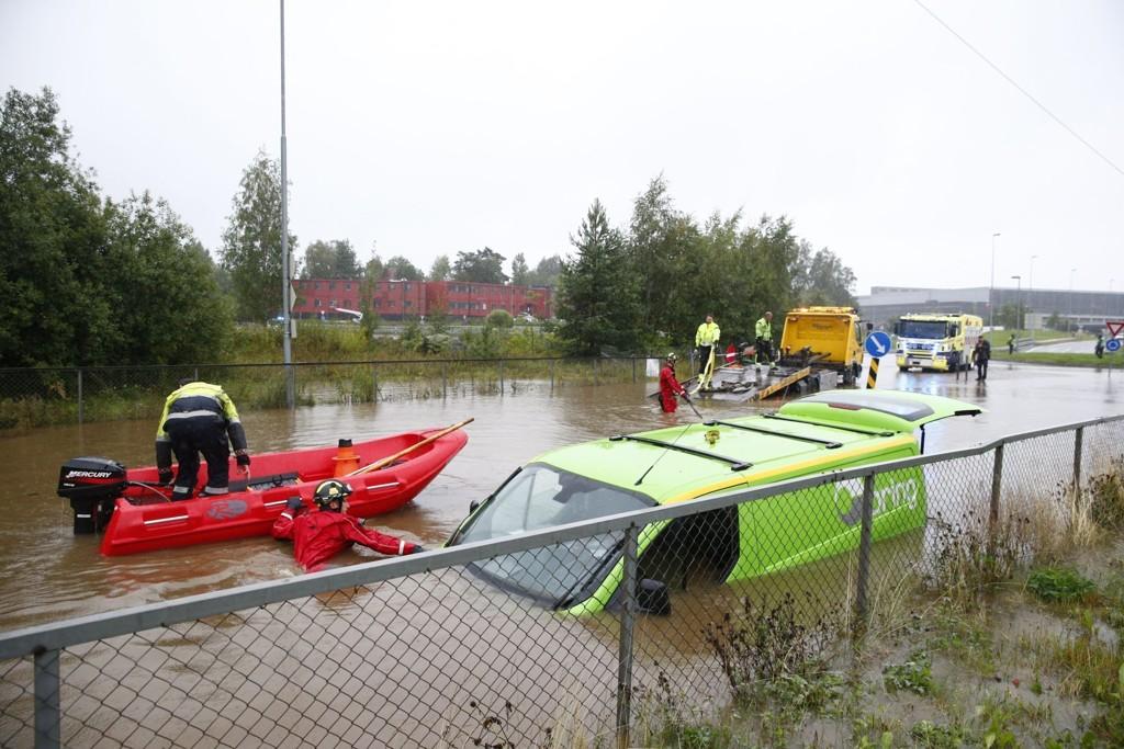 Slik så det ut i Lørenskog i begynnelsen av september. Nok en gang er det fare for store nedbørsmengder og flom.