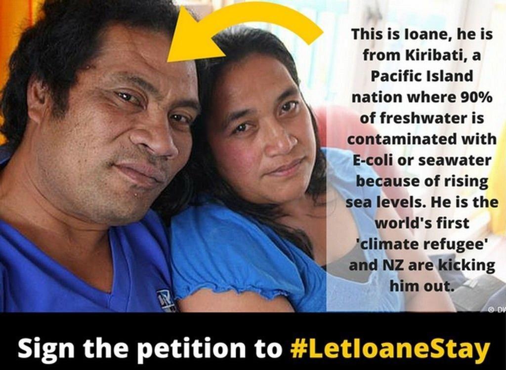 Ioana Teitiota ble onsdag sendt tilbake til Kiribati etter å ha forsøkt seg i alle ankedomstoler gjennom fire år i New Zealand. 39-åringen og hans familie søkte om opphold på grunnlag av klimaendringene som truer hjemlandet, men fikk aldri medhold.