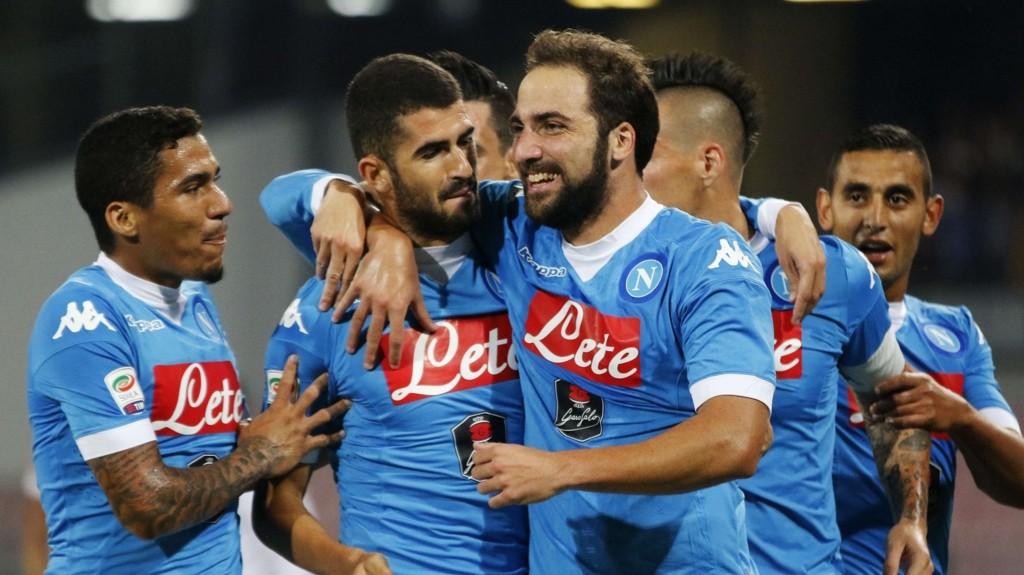 Gonzalo Higuain og hans lagkamerater jubler etter en av scoringene hjemme mot Lazio sist helg.