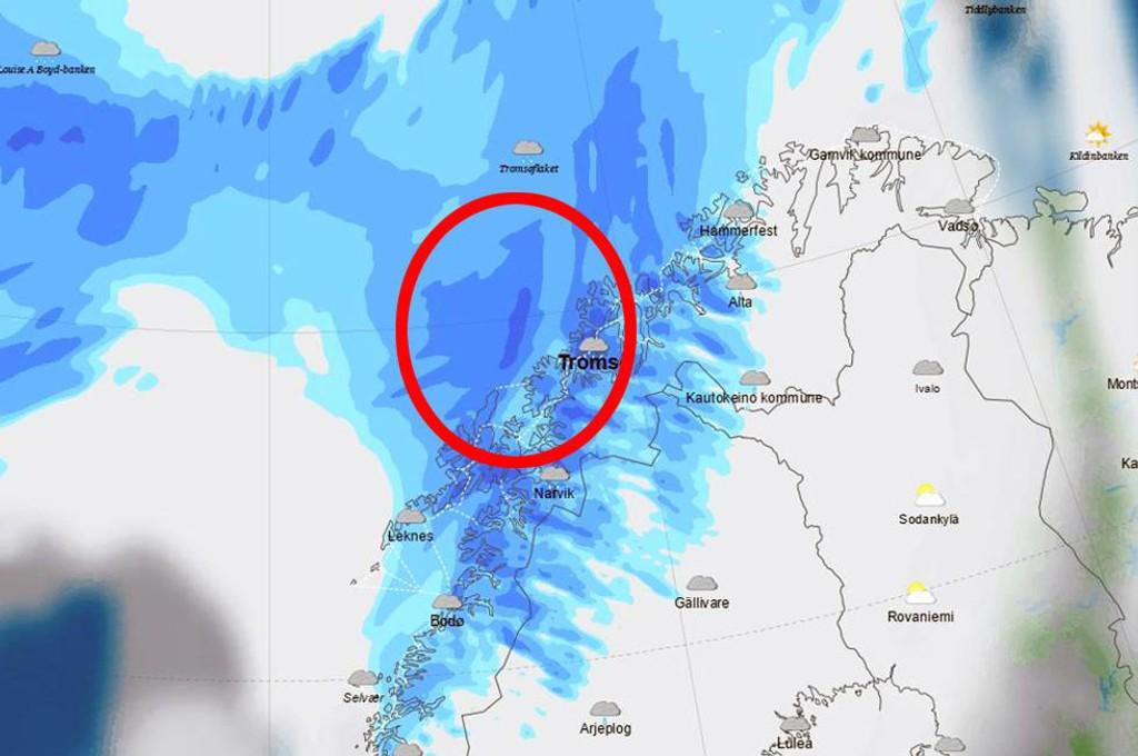 TREFFER LAND: Det er langs kysten av Troms og Finnmark stormen vil treffe hardest. Spesilet yttersiden av Senja og Kvaløya vil få mye vind.