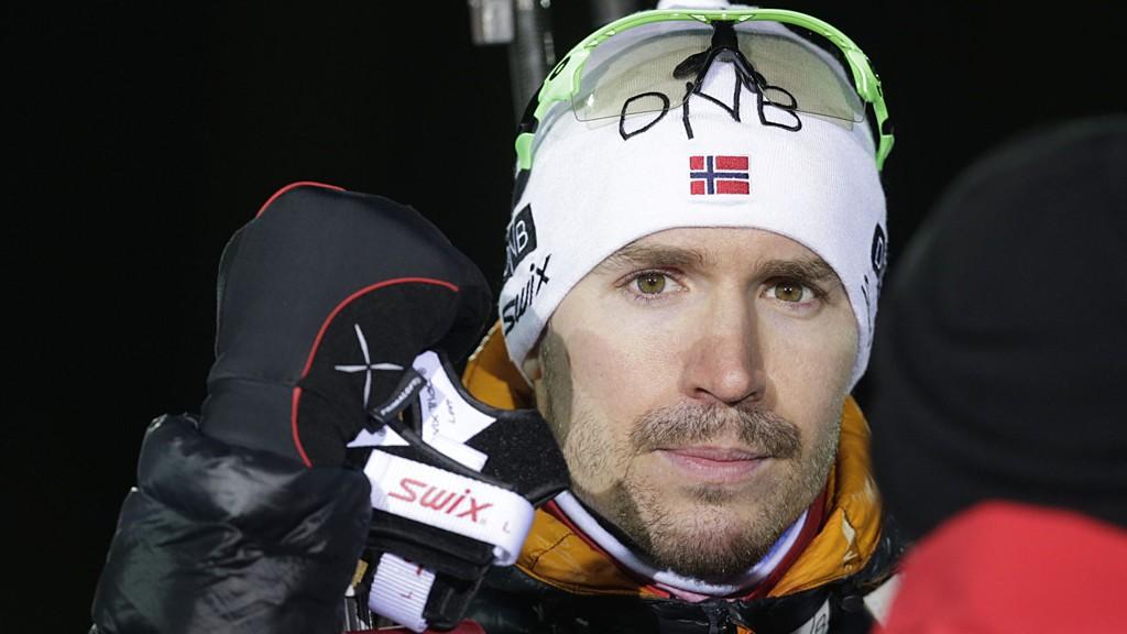 Skiskytteren Emil Hegle Svendsen under et testrenn på rulleski i Holmenkollen i løypene til VM i skiskyting 2016.