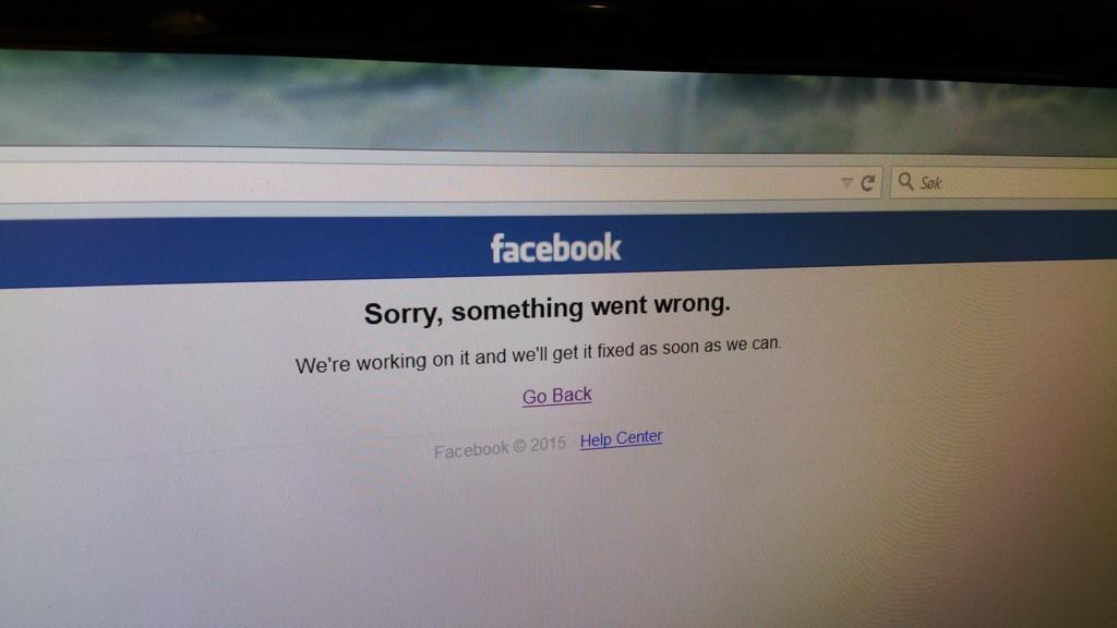 NEDE: Facebook var nede mandag kveld. Skjermdump fra Facebook