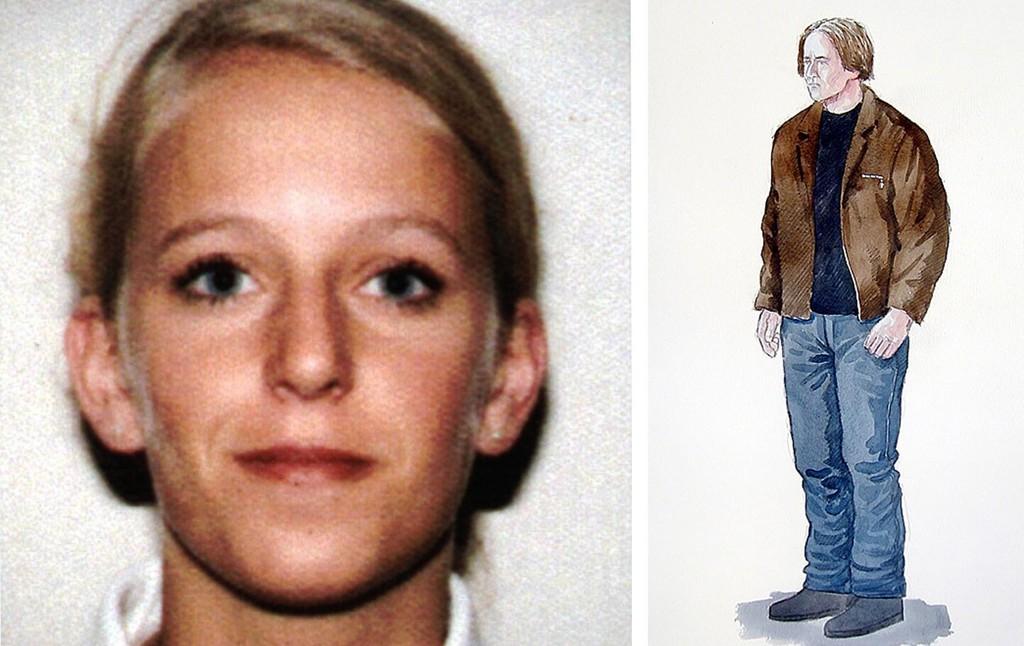 Politiet gikk i 2013 ut med en ny etterlysning i forbindelse med drapet på Tina Jørgensen (bildet). Mannspersonen hun snakket med er tegnet ut fra vitnebeskrivelser.