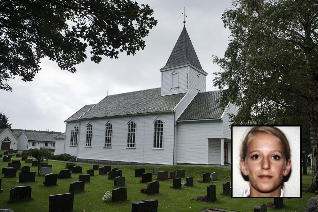 Tina Jørgensen (innfelt) ble funnet i kummen på parkeringsplassen utenfor Bore Kirke i Rogaland etter å ha vært forsvunnet i nesten en måned i 2000 (arkivfoto).