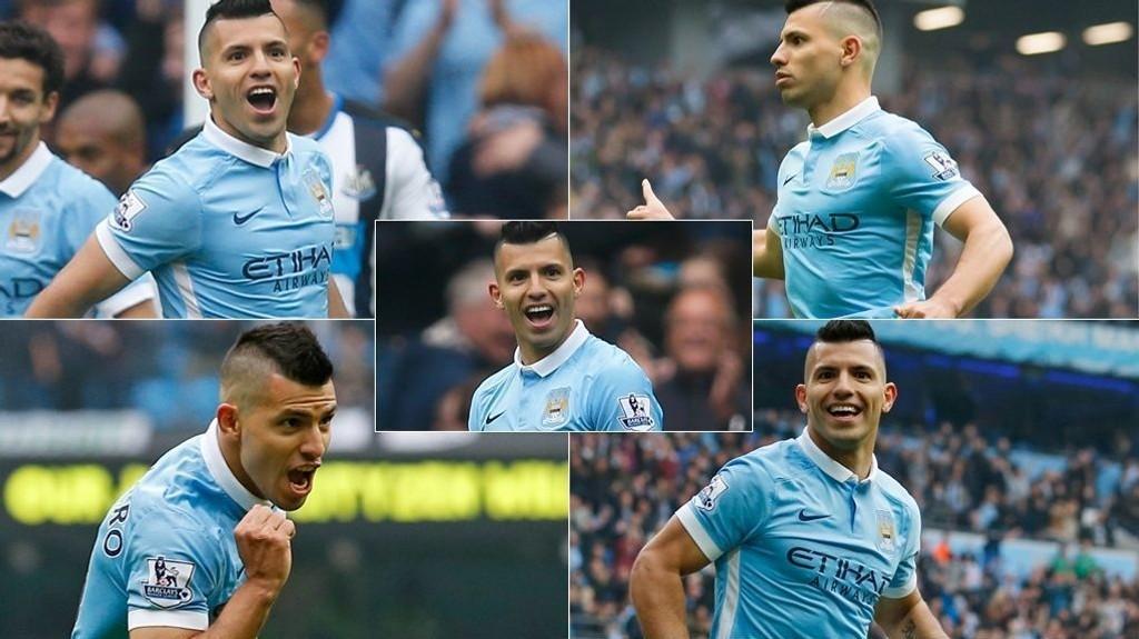 FEM MÅL: Sergio Agüero senket Newcastle på egenhånd.