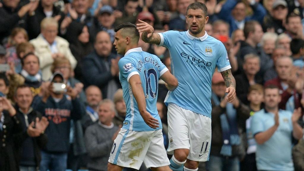 BYTTET UT: Manchester Citys Sergio Agüero ble byttet ut etter å ha scoret fem mål mot Newcastle.