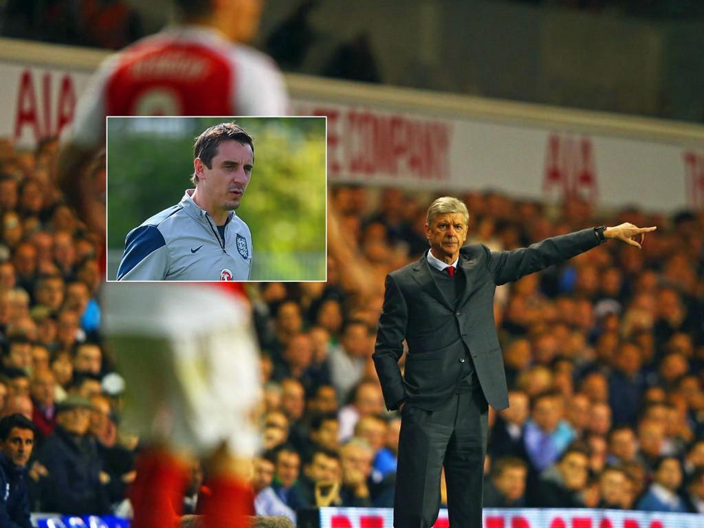LITE BEGEISTRET: Tidligere Manchester United-profil Gary Neville (innfelt) har liten tro på Arsenal-prosjektet til Arsène Wenger.