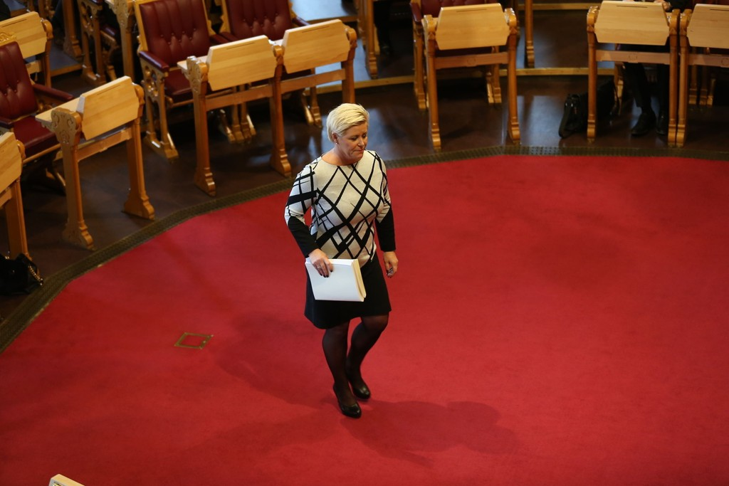 MER KREVENDE: - Vi står foran mer krevende tider for norsk økonomi. Det var budskapet fra finansminister Siv Jensen da hun onsdag presenterte regjeringens forslag til statsbudsjett for 2016.