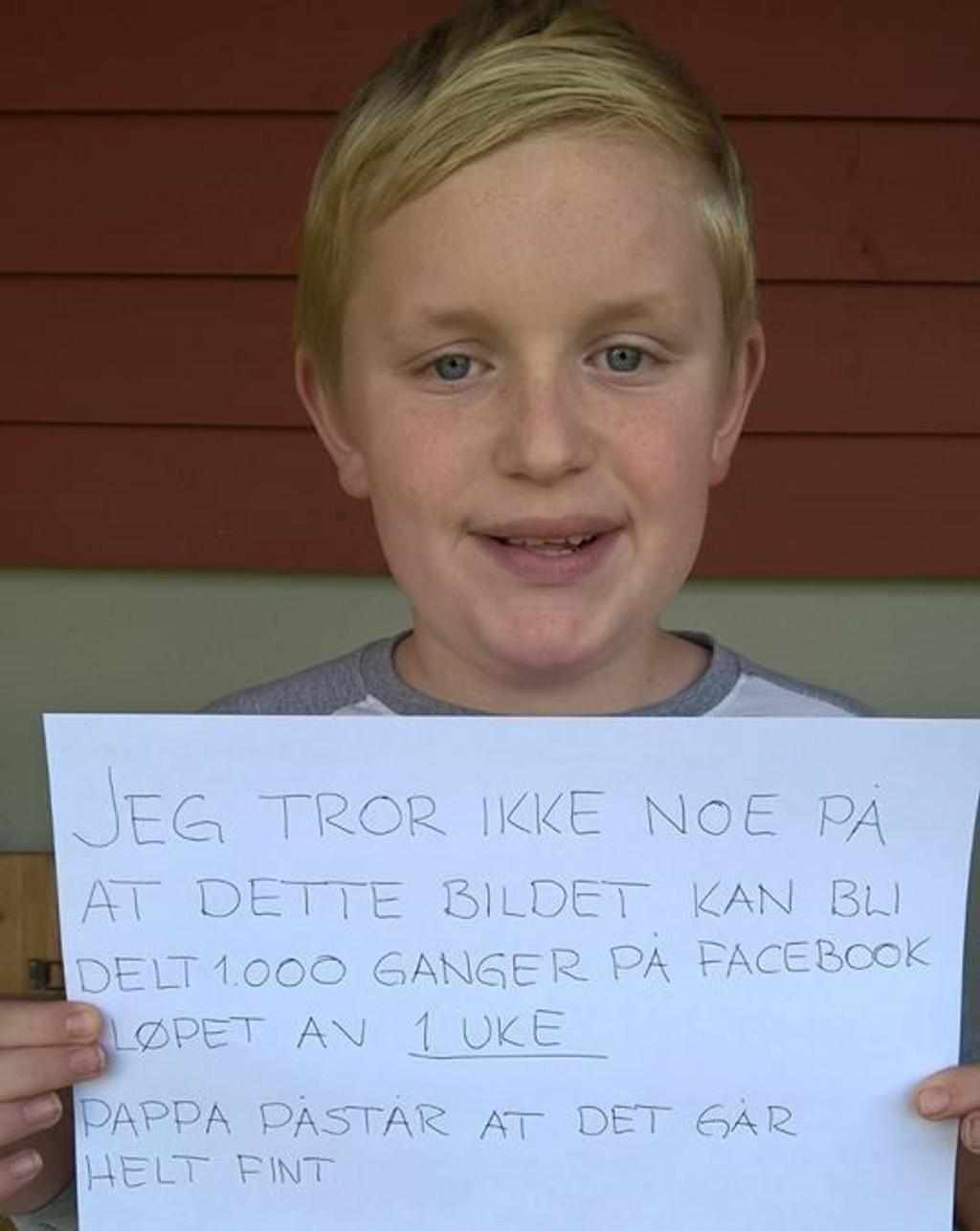 Daniel Heder Didriksen (13) trodde ikke noe på at bildet ville bli så mye delt. Onsdag kveld var det delt av 22.000.